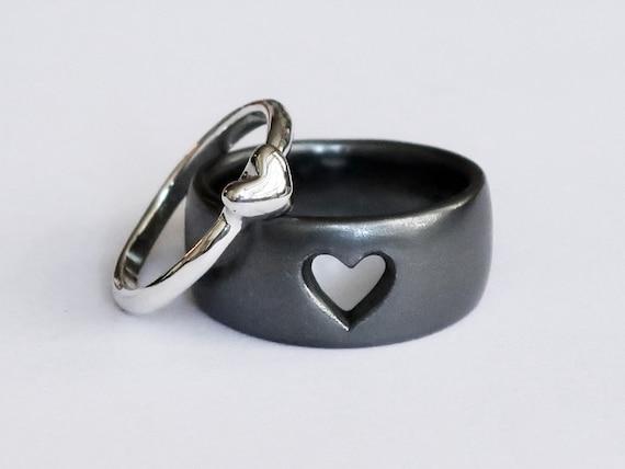 Sterling Silver Love Heart Ring Set