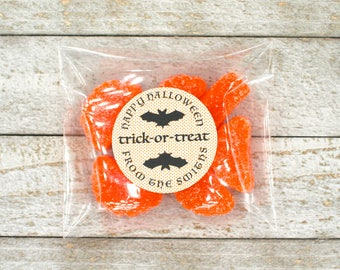 Halloween favor stickers and bags, personalized Trick or Treat labels, black bat with orange polka dot, fun halloween treat bags, treat bags