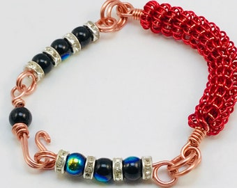 Red Coiled Bracelet w/Iridescent Beads