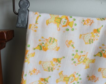 Super Soft Circus Clown Baby Fabric, Stretchy, 38x52 Inches, Yellow and Green, Juggling Clown