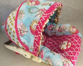 So Paris French/Hot Pink Quatrefoil/Gold Dot infant baby 5 piece car seat cover set
