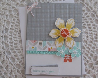 Handmade Greeting Card: Thinking Of You  (in Blue, Gray & Yellow)