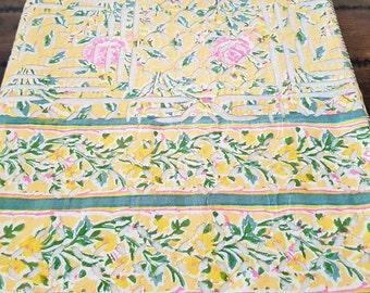 Handmade Indian Cutwork Bedspread - Sunshine Yellow Applique - QUEEN
