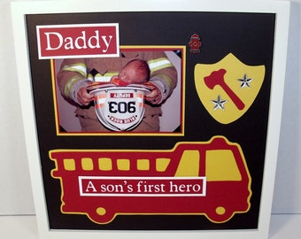 Daddy Father Son Picture Frame - A Son's First Hero Fireman Theme - 12x12 Frame Included - White, Black, and Dark Brown Frames available