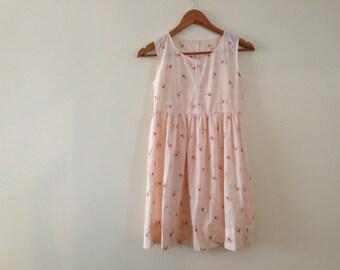 Vintage Pink Floral Girls Shift Dress- Size 10-12