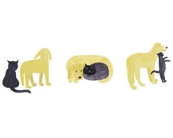 Ensemble de trois cartes postales A6, des chiens et des chats