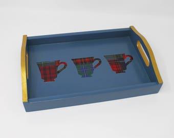Wooden Tray, Coffee Drinker Gift, Small Tray, Blue Tray, Coffee Tray, Breakfast Tray, Gift for Women, Scottish Gift, Tartan Tray, Plaid Tray