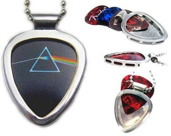 Guitar Pick Holder Necklace by PICKBAY + Pink Floyd Dark side of the Moon pick