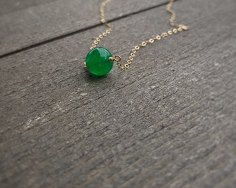14k gold filled sterling silver green jade necklace / bridesmaid necklace / dainty necklace / minimalist necklace / August birthstone