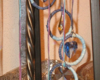 Twelve Crystal Dreamcatchers made into a Spiral 3-D Dreamcatcher Mobile,Suncatcher,Windcatcher,Crystal Rainbow Makers Window or Wall hanging