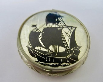 ON SALE Vintage Black Ink and Foil Tall Galleon Ship Compact Item K # 1888