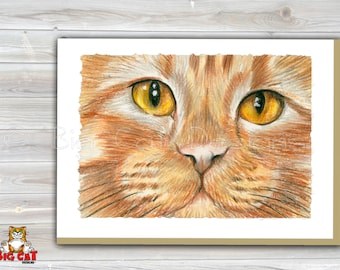 CAT CARD. Orange Tabby Cat Face. Orange Cat Greeting Card.  5X7 Framable Cat Card.  Ginger Cat Art, Orange Tabby Art.