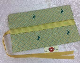 Handmade Makeup Pen Pencil Roll Crochet Knitting needles tool holder case Moose