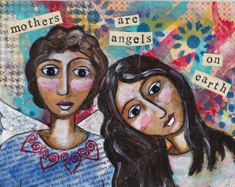 Angel painting, angel art, mothers day gift, personalized art, wall decor, home decor