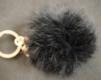 6 cm black fur Pom Pom