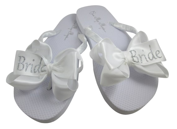 colors any color glitter select size Silver ivory heel bow Bride Bling white Glitter Flip personalization height Flops ZTnwaqR