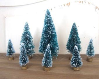 Set of Eight Frosted Green Bottle Brush Trees 8  Frosted Green Bottle Brush Sisal Trees