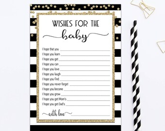 Wishes for baby black and white, BABY WISH CARDS, wish for baby cards, wishes for baby printable instant download, gender neutral pdf BL1