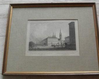 Antique German Engraved Print of Weisbaden!
