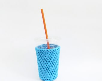 crochet iced coffee cozy. blue coffee cozy. Blue cup cozy. Cotton cup sleeve. Eco friendly cup jacket. Summer drink cozy.