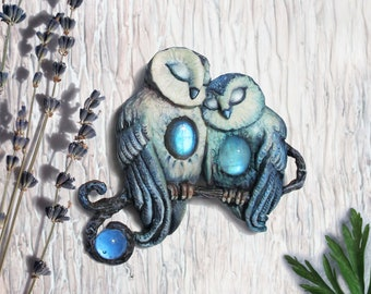 Owls from the Lavender Valley. Brooch