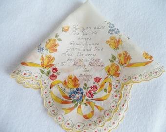 Vintage Happy Birthday Handkerchief