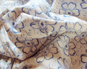 Vintage French Fabric Blue Daisies Suitable for Patchwork Quilting Lavender Bags Feedsack Pillow