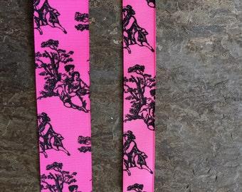 Shocking Pink and Black Toile 5 yards