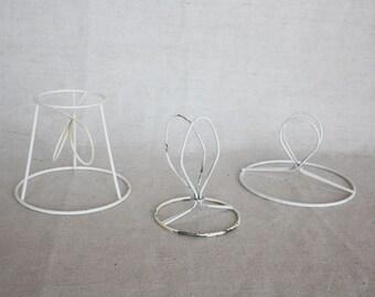 Lamp shades Set of 3 Lamp shade frame Vintage wire lamp Salvage lamp Metal shade frame Wire lamp shade Small table lamp Craft lamp shade