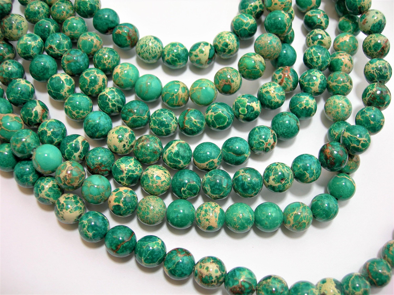 Brand-new Sea Sediment Jasper - 8mm - round bead - 49 beads - full strand  FB69