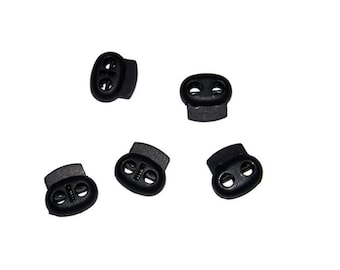 100 Pack Double Hole Cord Lock - Black - Spring Locks - 3mm hole 16mm wide x 12 mm tall
