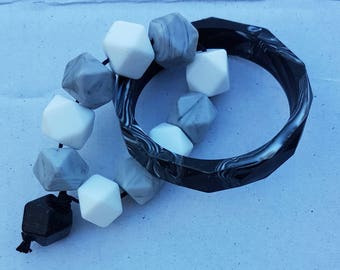Silicone beaded kids toy - black, white and grey