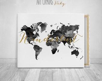 World map canvas art black and white print, ArtCanvasVicky
