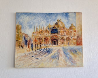 Signed oil painting - square San Marco, Venice (Italy) - 1970