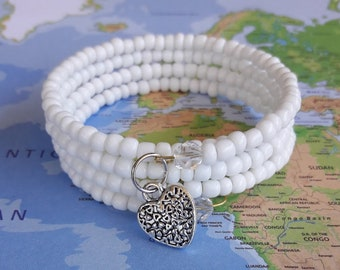 Simplel White Seed Bead Memory Wire Bracelet-Wrap Bracelet-Coil Bracelet-Beaded Bracelet