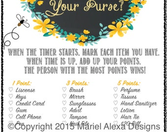 Bride to Bee Bridal Shower Game What's in Your Purse - Bag Search - Fun Unique Games DIY PDF Wedding Personalized Chalkboard Yellow Theme