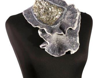 Felted scarf felt scarf Merino wool  winter warm scarf fiber art long wool felt art nuno felt shawl wrap