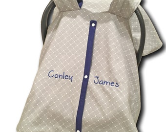 Gray Car Seat Canopy Set Boy Car Seat Cover Baby Boy Gift Car Seat Tent Navy