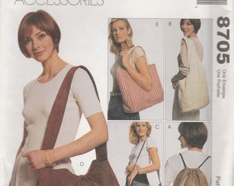Purse, Tote, Backpack, Shopping Bag Pattern McCalls 8705 Uncut