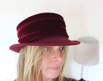 Hats Wool hat melon wedding Bordeaux vintage cap 57/58 polo Brim Velvet Elegant Seberger