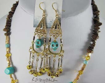 Lost to the Gold; Aztec Inca and Mayan Inspired Necklace / Earrings Set with Turquoise Skulls, Natural Stone, Gold, Amber Hues and Glass