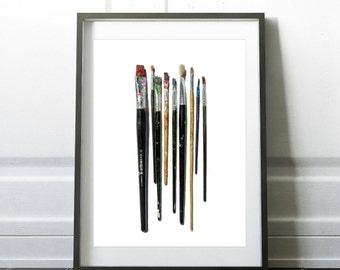 Paintbrush Photo Digital Download Art Studio Print Printable Office Decor Gift For Artist Teenager Wall Art Office Art Print For Art Teacher