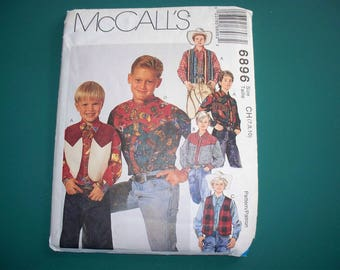 Vintage McCall's Boys, Western Style, Shirt and Vest  Pattern, Boys Size 7,  M6896 (Free US Shipping)