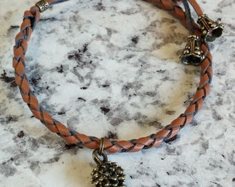 Brown Leather Bracelet with Pinecone Charm