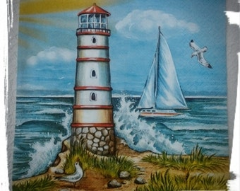 Lighthouse and Sea ,1 single Decoupage napkin ,Nautical,Sail boat,Mix Media, Collage,Lunch Napkins,Event Napkins,Scrapbooking,Craft paper