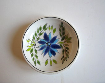 vintage hand painted ceramic plate, ash tray made in Greece by keramikos, signed by Clarisse