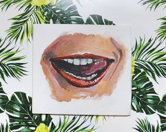 Small Acrylic Painting on Board - Lips with Tongue Sticking Out, Tiny Painting