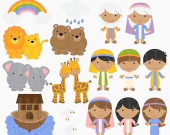 christian clip art bible characters clipart digital religious - Noah's Ark Digital Clipart - BUY 2 GET 2 FREE