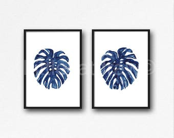 Tropical Leaves Print Set of 2 Watercolor Painting Prints Blue Monstera Leaf Home Decor Art Prints Wall Art Living Room Wall Decor Unframed