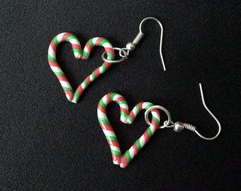 Christmas Peppermint Candy Cane Heart Earrings